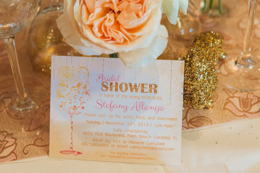 Pink and Gold Glitter Bridal Shower Invitation | The Majestic Vision Wedding Planning | Cafe Chardonnay in Palm Beach, FL | www.themajesticvision.com | Robert Madrid Photography