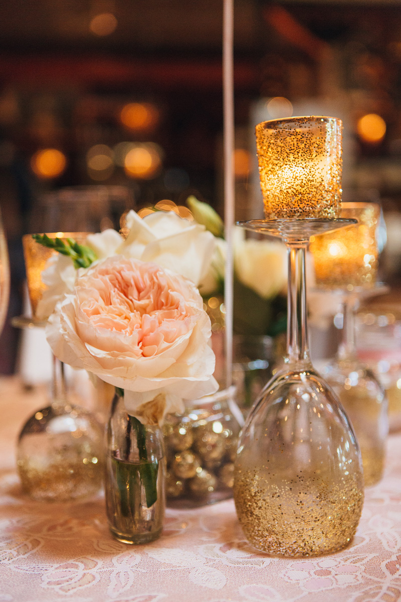 Pink and Gold Glitter Bridal Shower Centerpiece | The Majestic Vision Wedding Planning | Cafe Chardonnay in Palm Beach, FL | www.themajesticvision.com | Robert Madrid Photography