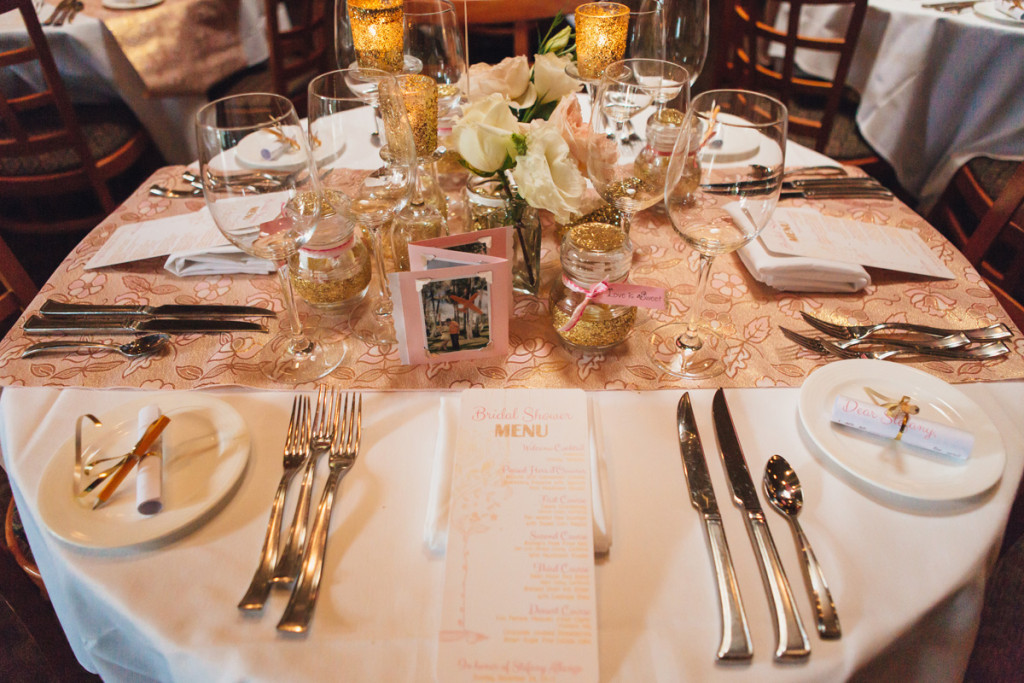 Pink and Gold Glitter Bridal Shower Tablescape | The Majestic Vision Wedding Planning | Cafe Chardonnay in Palm Beach, FL | www.themajesticvision.com | Robert Madrid Photography