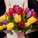 Romatic Red, Yellow and Purple Tulip Bridesmaid Bouquets at Ann Norton Sculpture Garden in Palm Beach, FL thumbnail