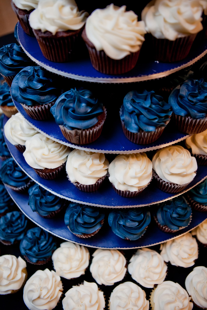 Blue and White Wedding Cupcake Display | The Majestic Vision Wedding Planning | Ann Norton Sculpture Garden in Palm Beach, FL | www.themajesticvision.com | Dove Wedding Photography