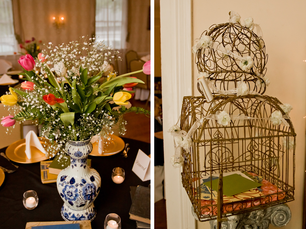 Romantic Tulip Centerpiece and Birdcage Card Box | The Majestic Vision Wedding Planning | Ann Norton Sculpture Garden in Palm Beach, FL | www.themajesticvision.com | Dove Wedding Photography