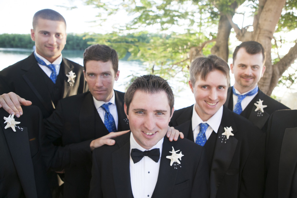 Handsome Groomsmen with Elegant Starfish Boutineers | The Majestic Vision Wedding Planning | Villas Mar Azure in Ponce, PR | www.themajesticvision.com | Shay Cochrane Photography