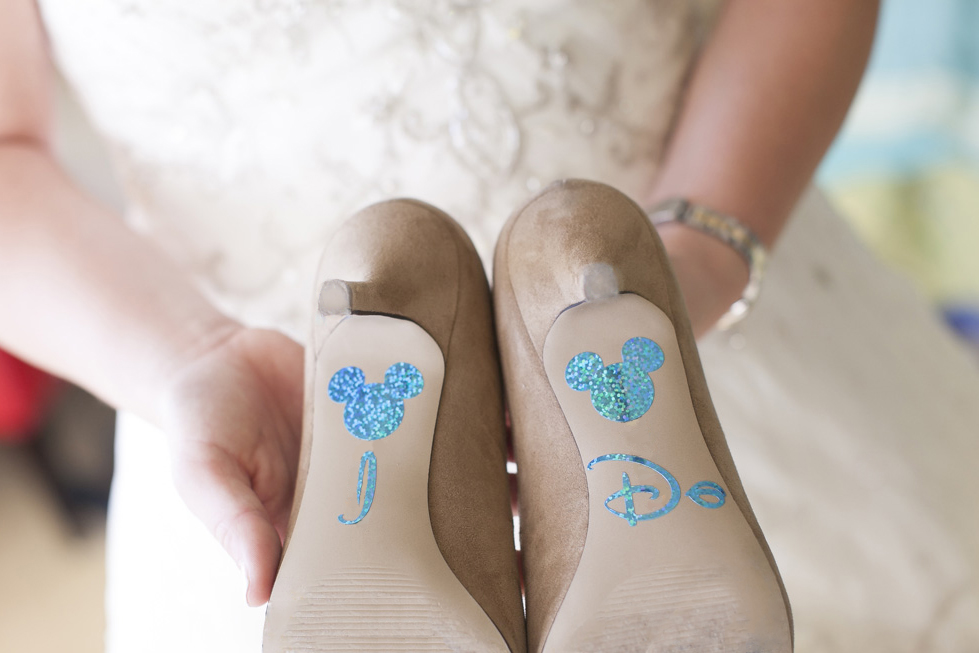 Fun Mickey Mouse Wedding Shoe Decals | The Majestic Vision Wedding Planning | Villas Mar Azure in Ponce, PR | www.themajesticvision.com | Shay Cochrane Photography