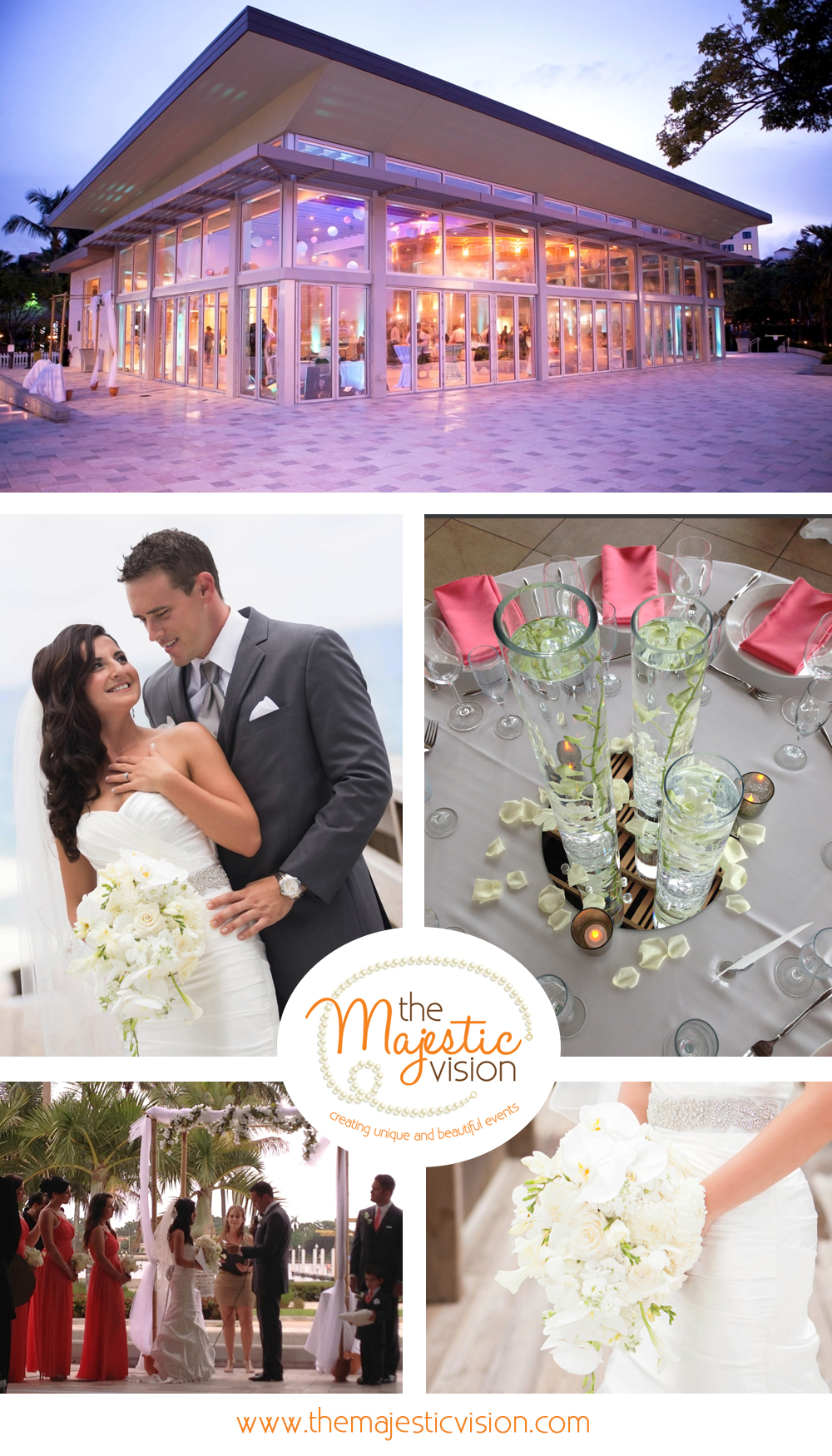 Classic Silver, Coral and Blue Wedding | The Majestic Vision Wedding Planning | Palm Beach Lake Pavilion in Palm Beach, FL | www.themajesticvision.com | Emmanuel Gil Photography