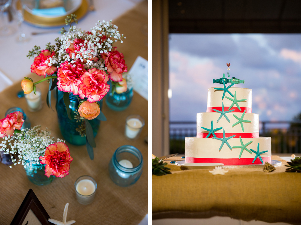 Rustic Tablescape with Blue Mason Jars, Coral Carnations and Burlap Runner   The Majestic Vision Wedding Planning   Palm Beach Shores Community Center in Palm Beach, FL   www.themajesticvision.com   Chris Kruger Photography