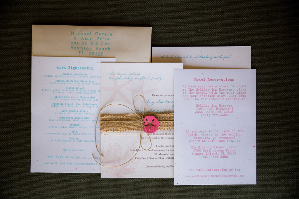 Rustic Coral and Burlap Wedding Invitations | The Majestic Vision Wedding Planning | Palm Beach Shores Community Center in Palm Beach, FL | www.themajesticvision.com | Chris Kruger Photography