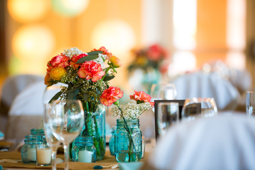 Rustic Tablescape with Blue Mason Jars, Coral Carnations and Burlap Runner | The Majestic Vision Wedding Planning | Palm Beach Shores Community Center in Palm Beach, FL | www.themajesticvision.com | Chris Kruger Photography
