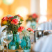 Rustic Tablescape with Blue Mason Jars, Coral Carnations and Burlap Runner at Palm Beach Shores Community Center in Palm Beach, FL thumbnail