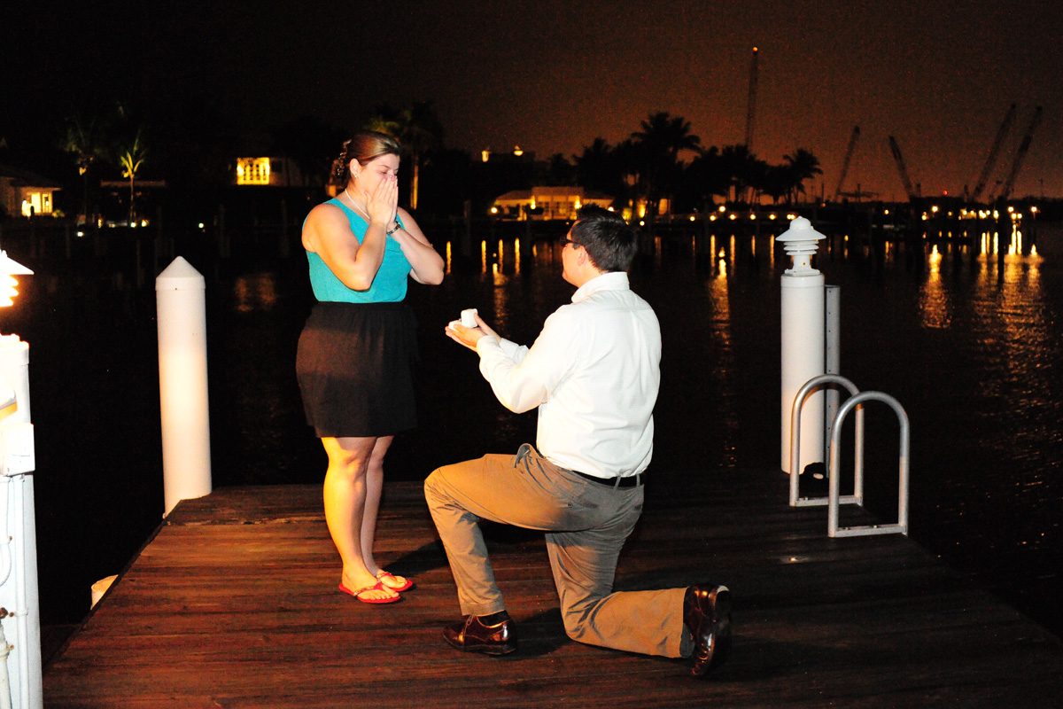 Beautiful Nighttime Wedding Proposal | The Majestic Vision Wedding Planning | Palm Beach, FL | www.themajesticvision.com | Emily Allongo Photography