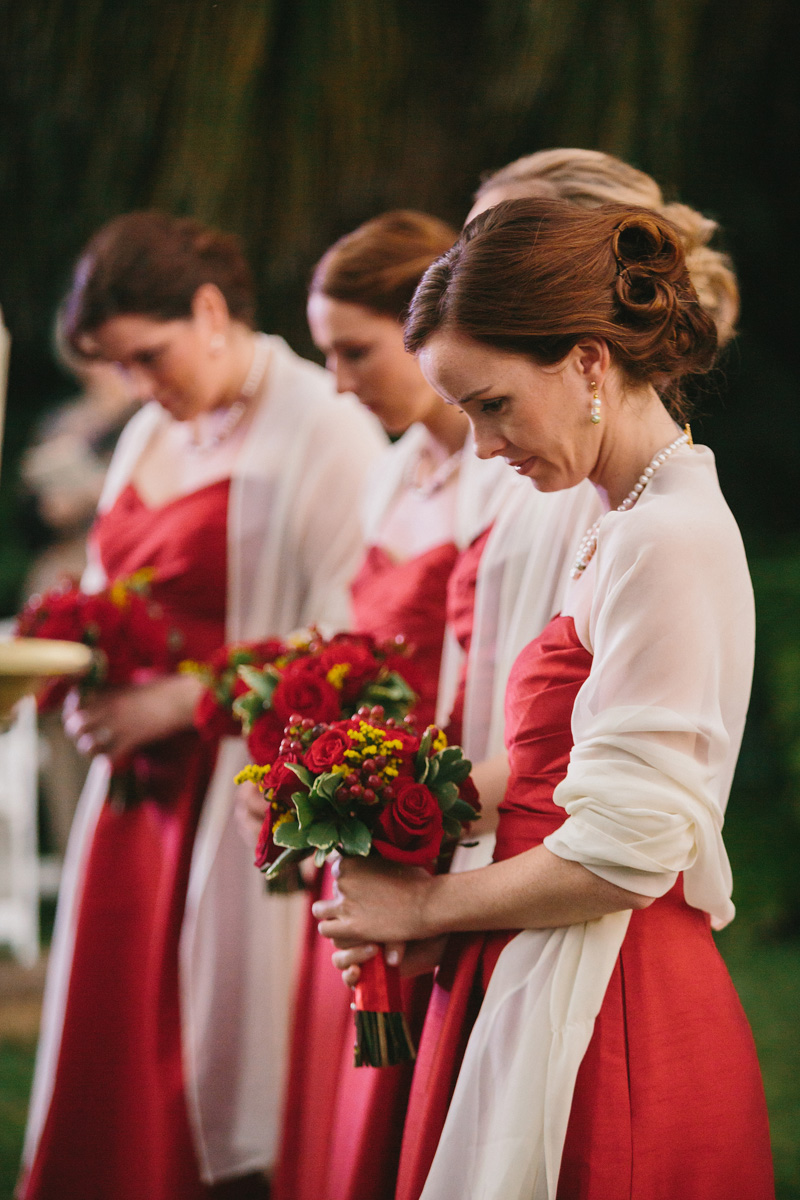 Elegant Bridesmaids in Red BCBG Gowns | The Majestic Vision Wedding Planning | Fairchild Tropical Garden in Coral Gables, FL | www.themajesticvision.com | Robert Madrid Photography