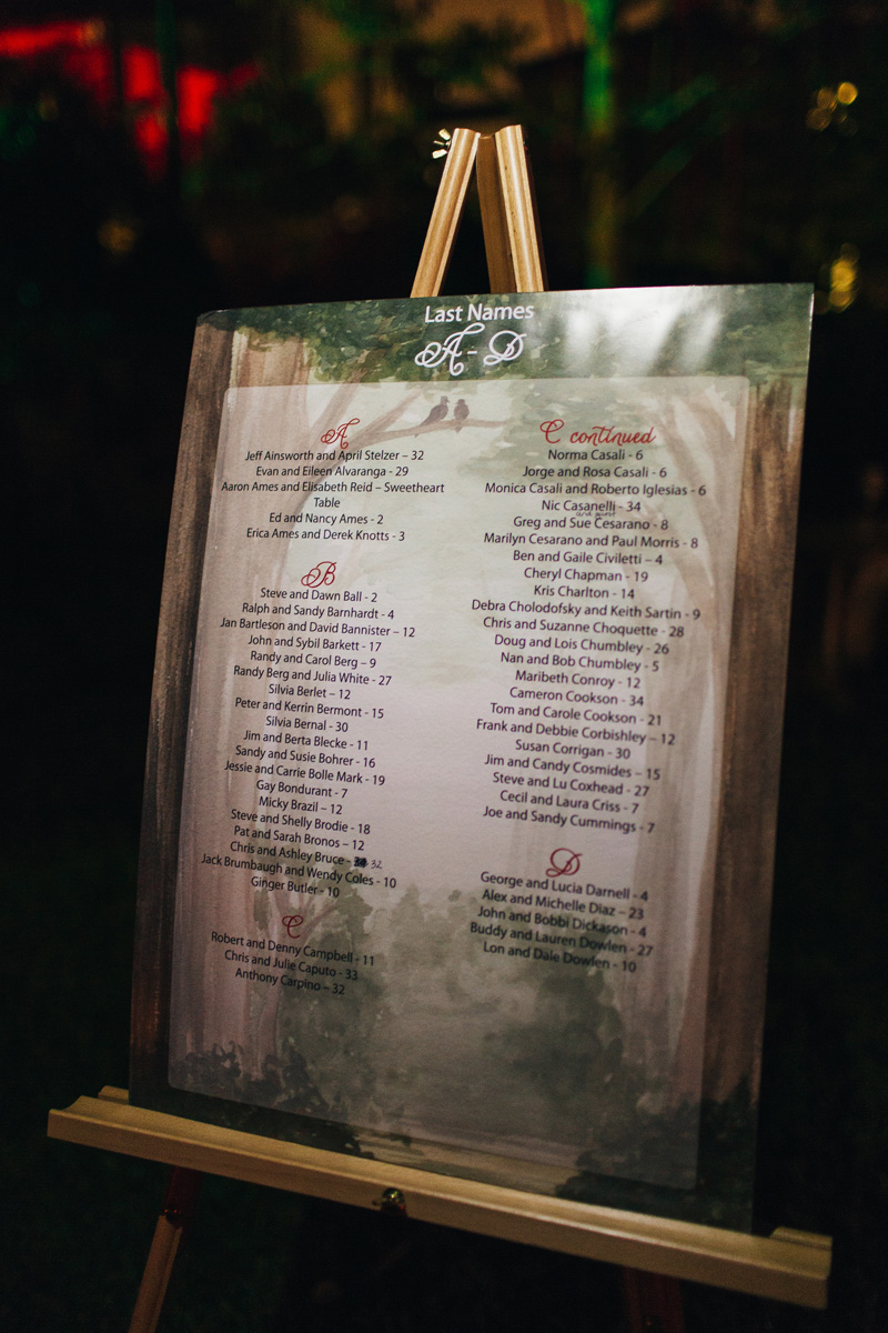 Elegant Handpainted Garden Escort Card Display | The Majestic Vision Wedding Planning | Fairchild Tropical Garden in Coral Gables, FL | www.themajesticvision.com | Robert Madrid Photography