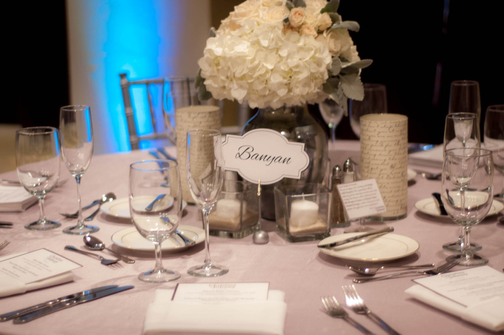 Elegant Silver and White Wedding Reception | The Majestic Vision Wedding Planning |Harriet Himmel Theater in Palm Beach, FL | www.themajesticvision.com