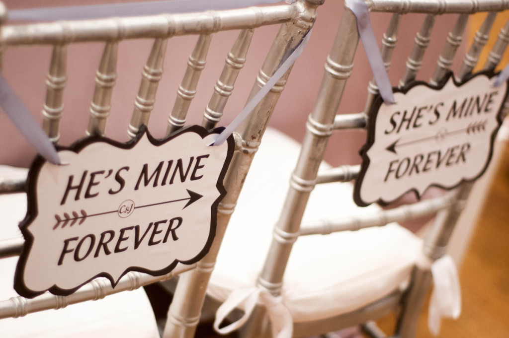 Elegant Silver and White Wedding Reception Chair Signs | The Majestic Vision Wedding Planning |Harriet Himmel Theater in Palm Beach, FL | www.themajesticvision.com