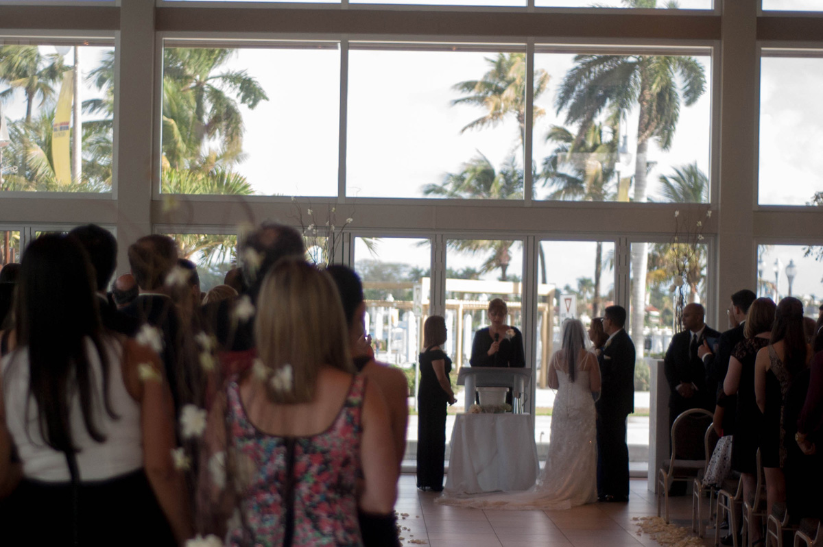 Elegant Silver and White Wedding Ceremony | The Majestic Vision Wedding Planning |Harriet Himmel Theater in Palm Beach, FL | www.themajesticvision.com