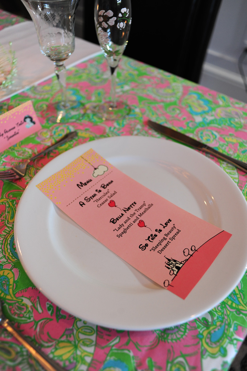 Pink And Green Disney Side Party Menu Card The Majestic Vision Wedding Planning Palm