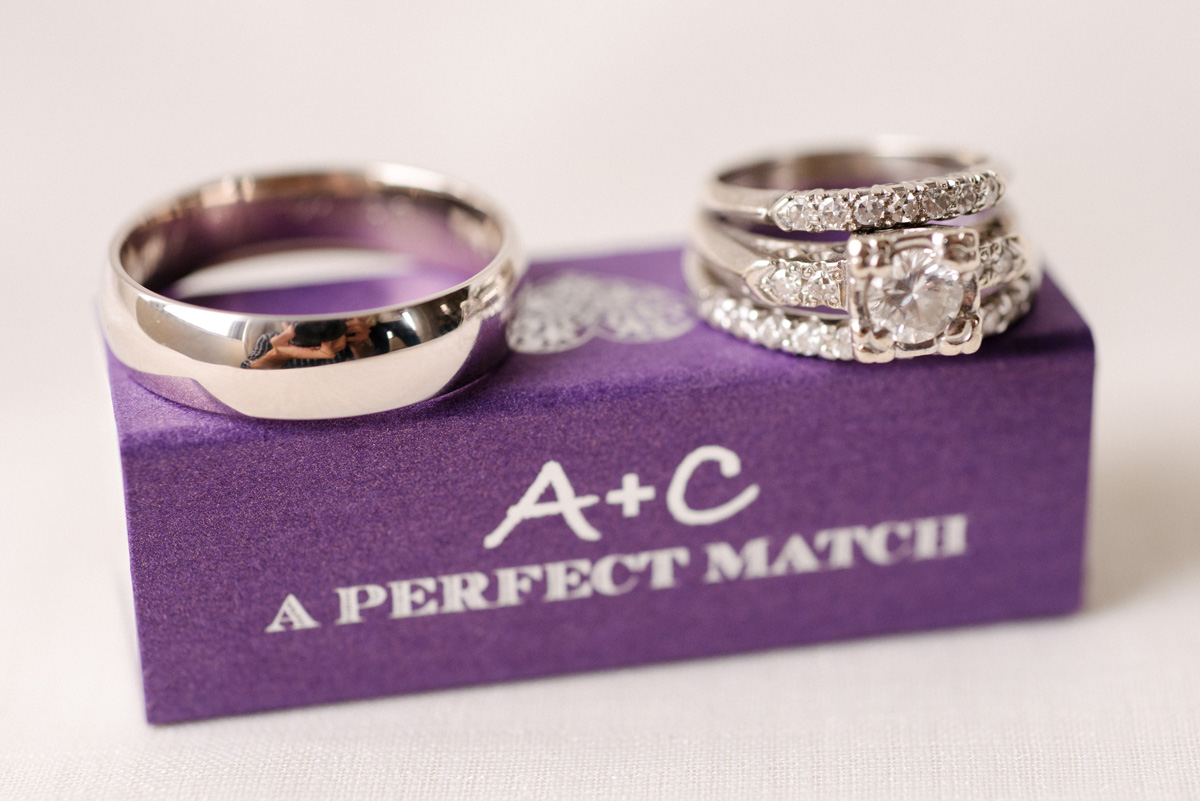 Stunning Wedding Rings on Personalized Purple Match Box | The Majestic Vision Wedding Planning | The Addison Boca in Palm Beach, FL | www.themajesticvision.com | Starfish Studios