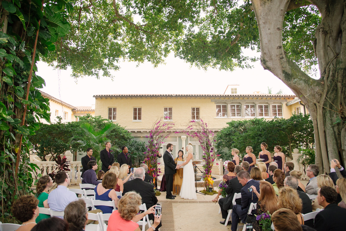 Elegant Wedding Ceremony with Stunning Purple Orchid Arch | The Majestic Vision Wedding Planning | The Addison Boca in Palm Beach, FL | www.themajesticvision.com | Starfish Studios