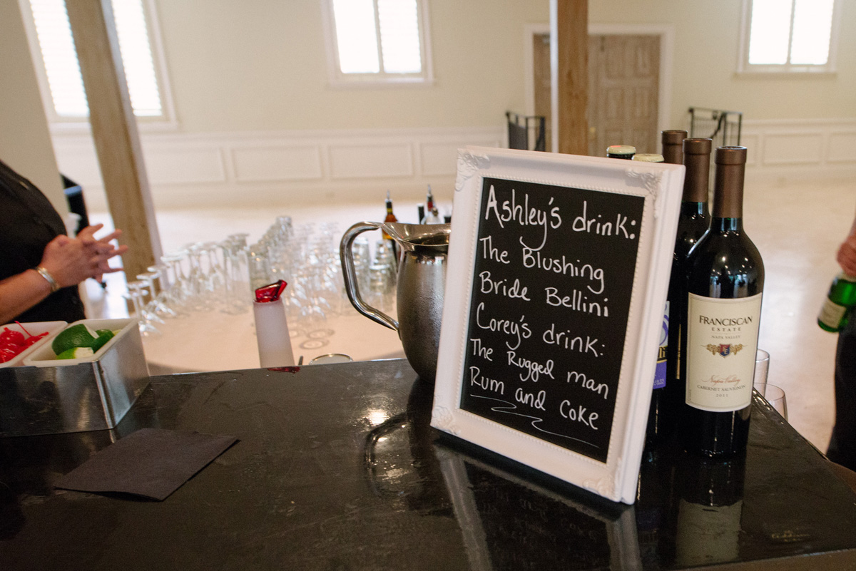 Fun Chalkboard Signature Drink Sign | The Majestic Vision Wedding Planning | The Addison Boca in Palm Beach, FL | www.themajesticvision.com | Starfish Studios