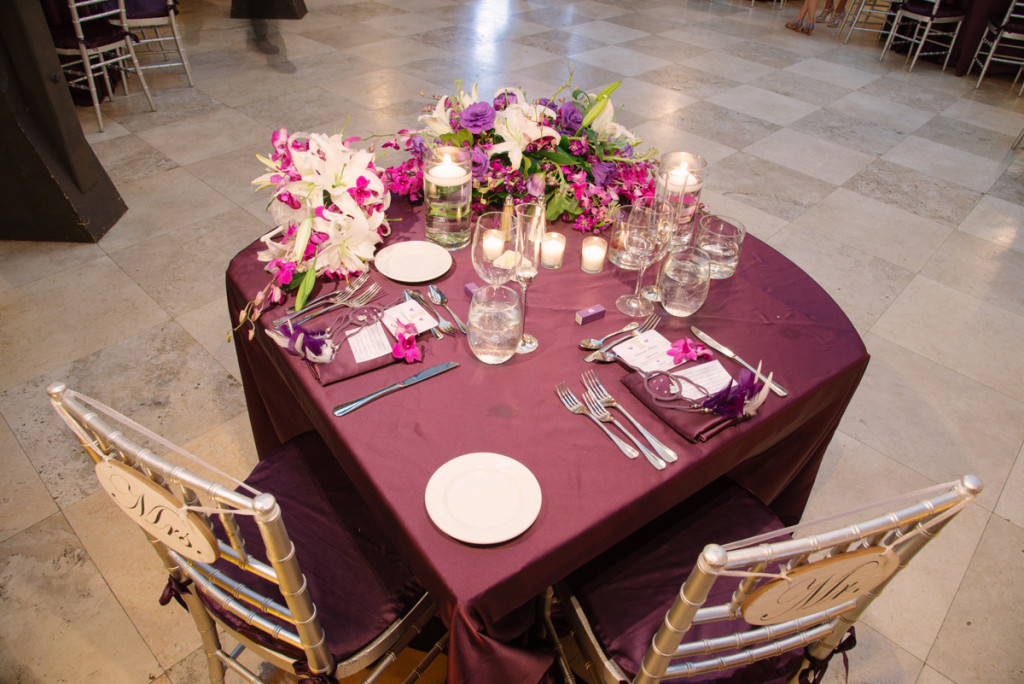 Elegant Silver and Purple Wedding Reception | The Majestic Vision Wedding Planning | The Addison Boca in Palm Beach, FL | www.themajesticvision.com | Starfish Studios
