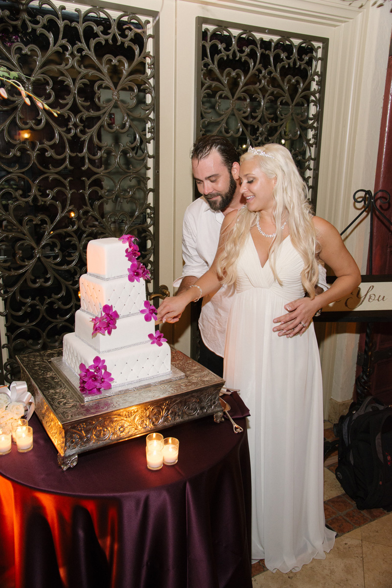 Elegant Silver and Purple Wedding Cake | The Majestic Vision Wedding Planning | The Addison Boca in Palm Beach, FL | www.themajesticvision.com | Starfish Studios