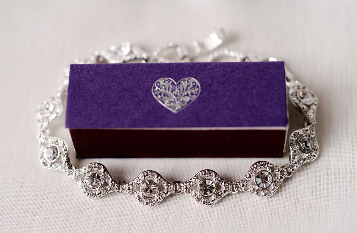 Gorgeous Diamond Braclet with Purple Match Box | The Majestic Vision Wedding Planning | The Addison Boca in Palm Beach, FL | www.themajesticvision.com | Starfish Studios