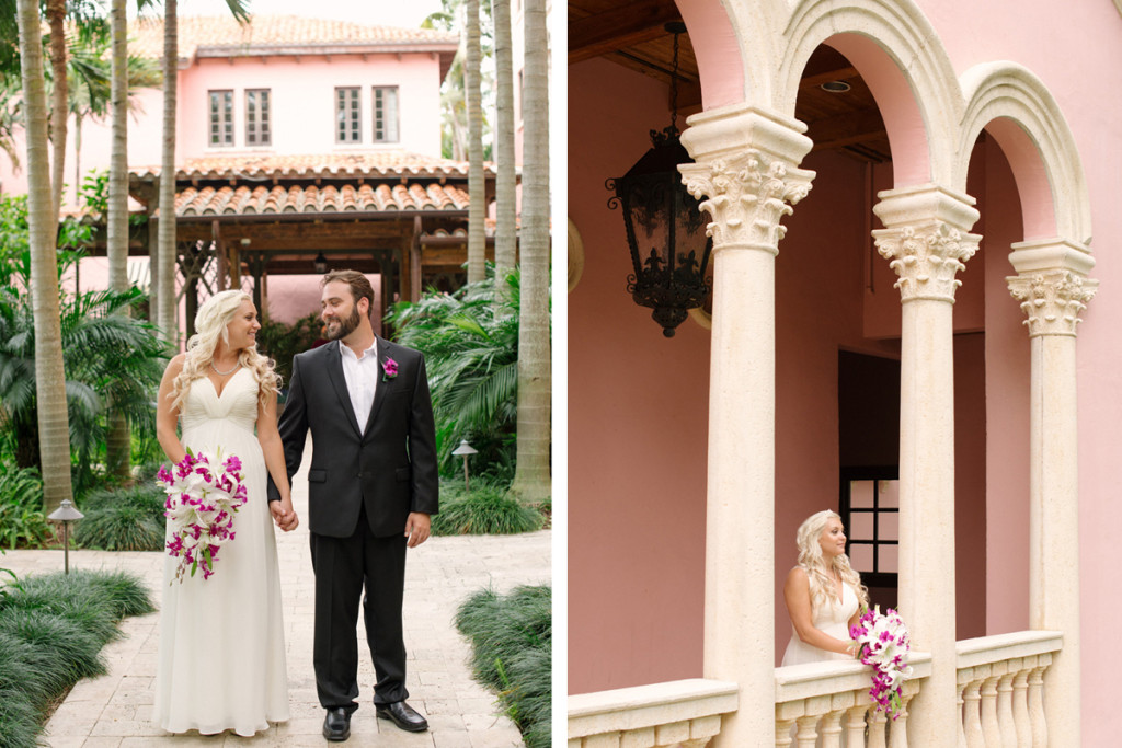 Elegant Bridal Portrait with Stunning Cascade Bridal Bouquet with Purple Orchids and White Lillies | The Majestic Vision Wedding Planning | The Addison Boca in Palm Beach, FL | www.themajesticvision.com | Starfish Studios