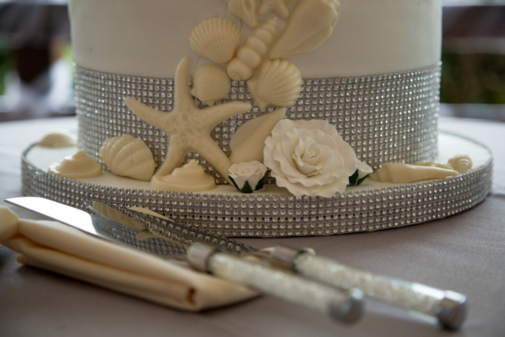 Elegant Wedding Cake with White Chocolate Seashells   The Majestic Vision Wedding Planning   Hilton Singer Island in Palm Beach, FL   www.themajesticvision.com   Michael Sterling Photography