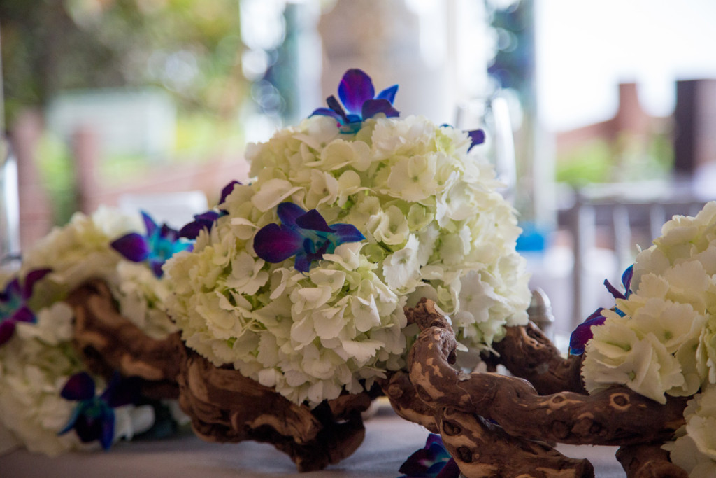 Elegant Blue and White Orchid Centerpiece | The Majestic Vision Wedding Planning | Hilton Singer Island in Palm Beach, FL | www.themajesticvision.com | Michael Sterling Photography