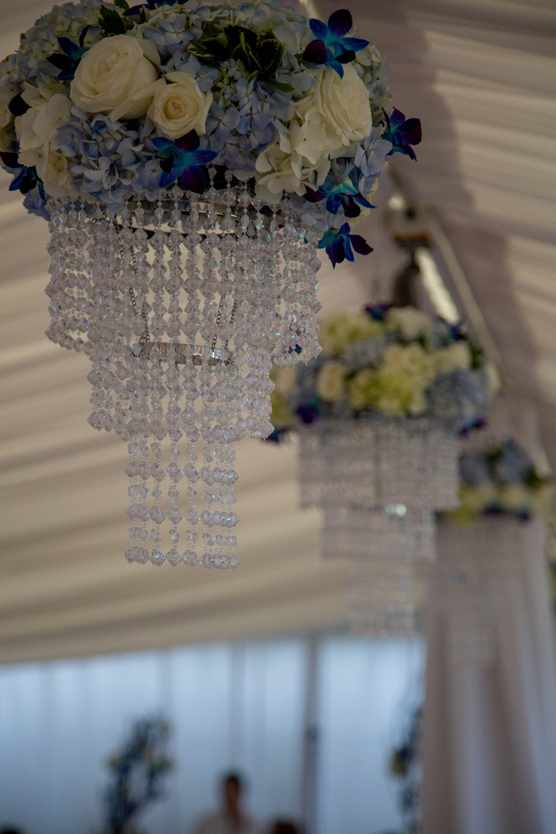 Elegant Chandeliers with Blue and White Orchids | The Majestic Vision Wedding Planning | Hilton Singer Island in Palm Beach, FL | www.themajesticvision.com | Michael Sterling Photography