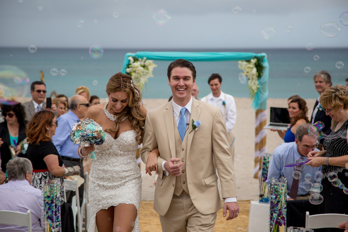 Elegant Beach Wedding Ceremony with Blue and White Orchids | The Majestic Vision Wedding Planning | Hilton Singer Island in Palm Beach, FL | www.themajesticvision.com | Michael Sterling Photography