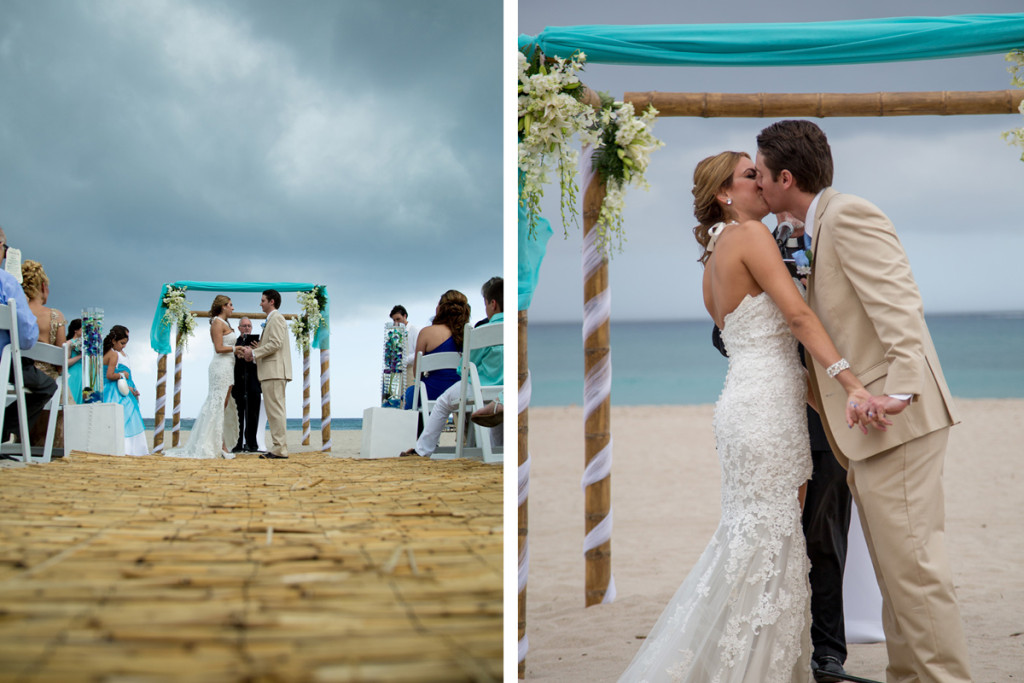 Elegant Beach Wedding Ceremony With Blue And White Orchids The Majestic Vision Planning