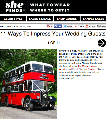 11 Ways to Impress Your Wedding Guests on SheFinds | The Majestic Vision Wedding Planning | Palm Beach, FL and Milwaukee, WI | www.themajesticvision.com