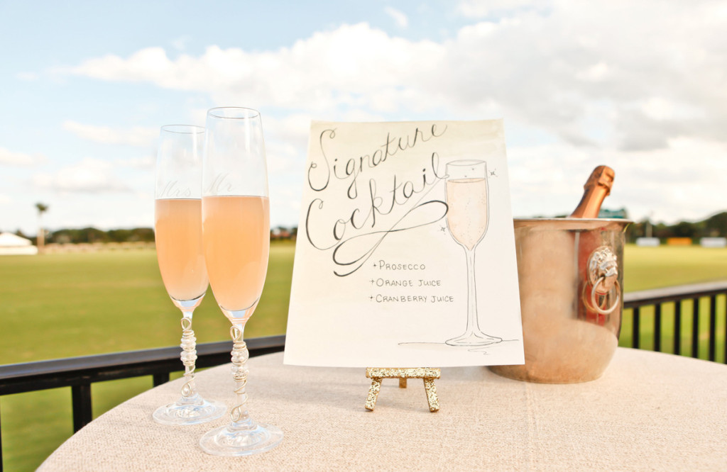 Elegant Prosecco Signature Drink | The Majestic Vision Wedding Planning | International Polo Club in Palm Beach, FL | www.themajesticvision.com | Krystal Zaskey Photography