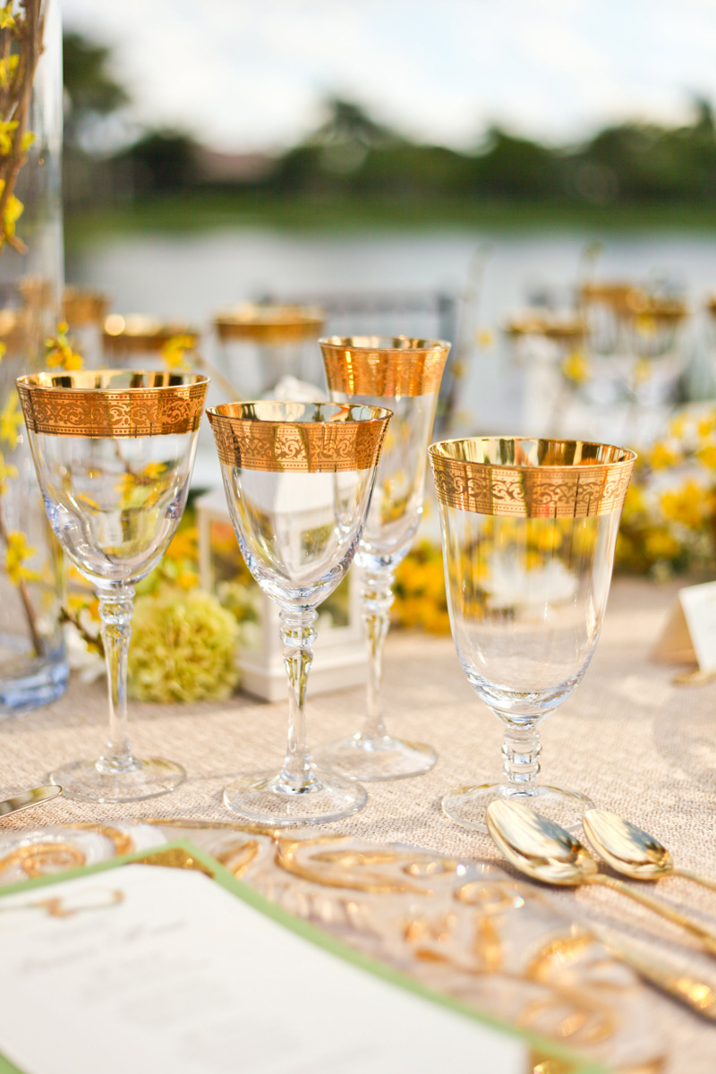 Elegant Gold and Crystal Glassware | The Majestic Vision Wedding Planning | International Polo Club in Palm Beach, FL | www.themajesticvision.com | Krystal Zaskey Photography