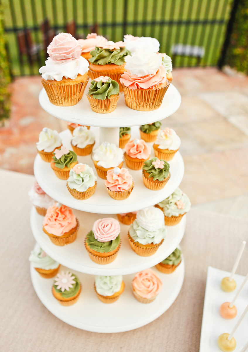 Delicious Floral Wedding Cupcake Tower | The Majestic Vision Wedding Planning | International Polo Club in Palm Beach, FL | www.themajesticvision.com | Krystal Zaskey Photography