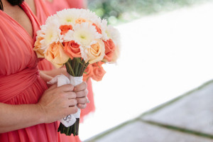 Elegant Coral, Pink and White Bridesmaid Bouquet | The Majestic Vision Wedding Planning | Marriot Singer Island in Palm Beach, FL | www.themajesticvision.com | Robert Madrid Photography