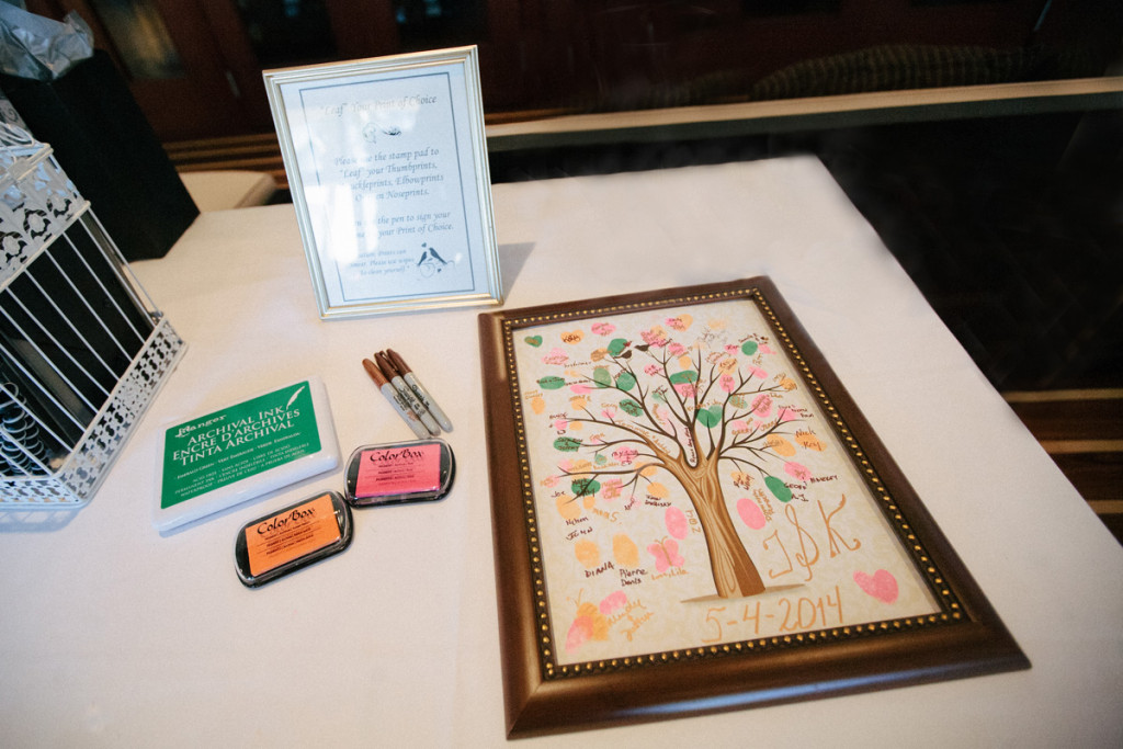 Elegant Pink, Orange and Green Thumbprint Tree Guestbook | The Majestic Vision Wedding Planning | Marriott Singer Island in Palm Beach, FL | www.themajesticvision.com | Robert Madrid Photography