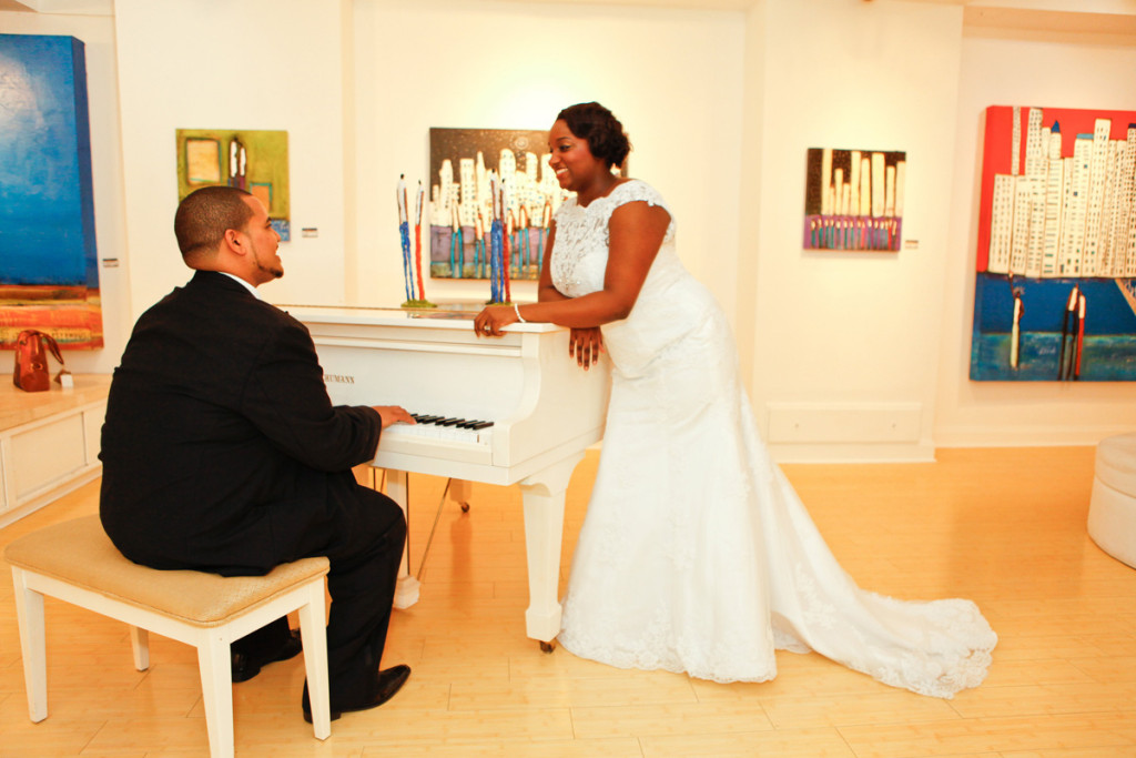 Romantic Bridal Portrait with Groom Serenading the Bride | The Majestic Vision Wedding Planning | 32 East in Palm Beach, FL | www.themajesticvision.com | Krystal Zaskey Photography