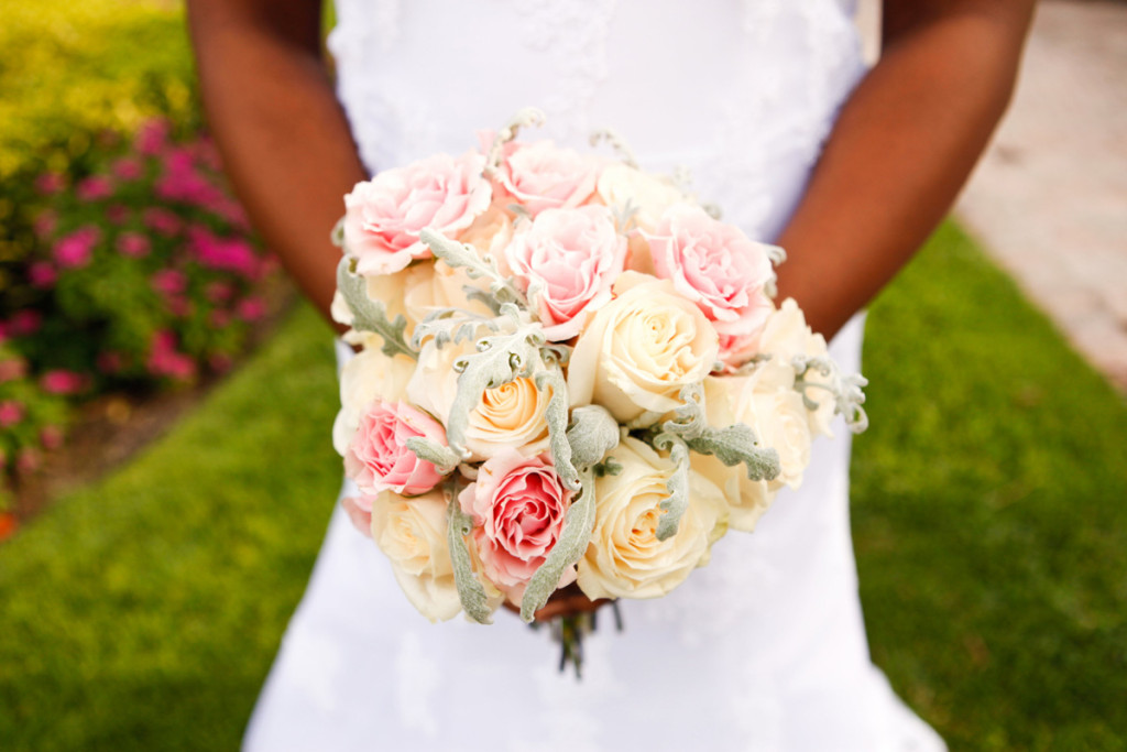 Romantic Bridal Bouquet with Blush Roses, White Roses and Dusty Miller | The Majestic Vision Wedding Planning | 32 East in Palm Beach, FL | www.themajesticvision.com | Krystal Zaskey Photography