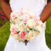 Romantic Bridal Bouquet with Blush Roses, White Roses and Dusty Miller at 32 East in Palm Beach, FL thumbnail