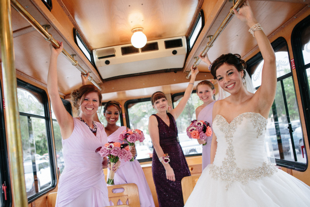 Elegant Bridal Party in Trolley | The Majestic Vision Wedding Planning | Sailfish Marina in Palm Beach, FL | www.themajesticvision.com | Robert Madrid Photography