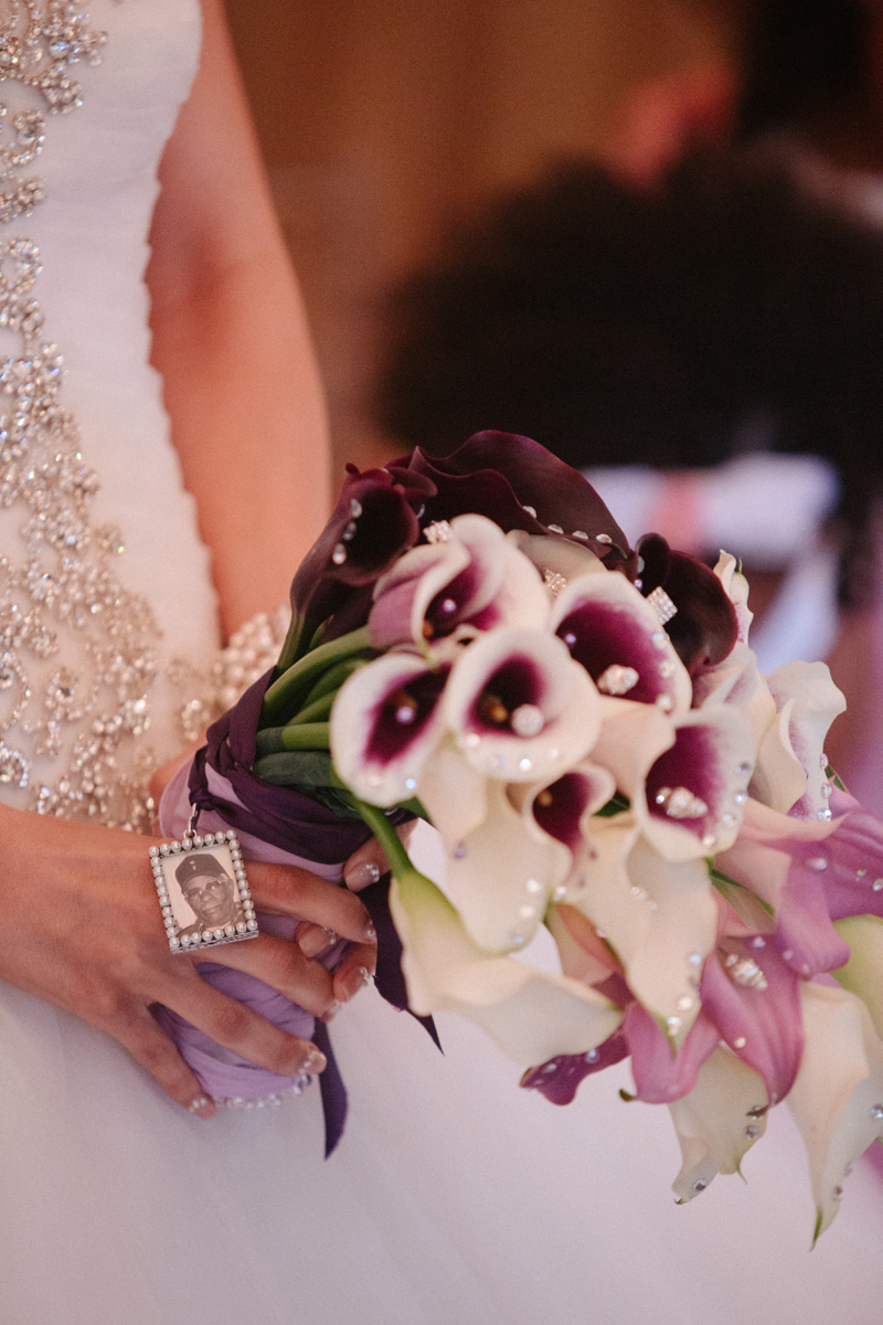 Elegant Cascading Ombre Bridal Bouquet with Purple Calla Lilies and White Calla Lilles | The Majestic Vision Wedding Planning | Sailfish Marina in Palm Beach, FL | www.themajesticvision.com | Robert Madrid Photography