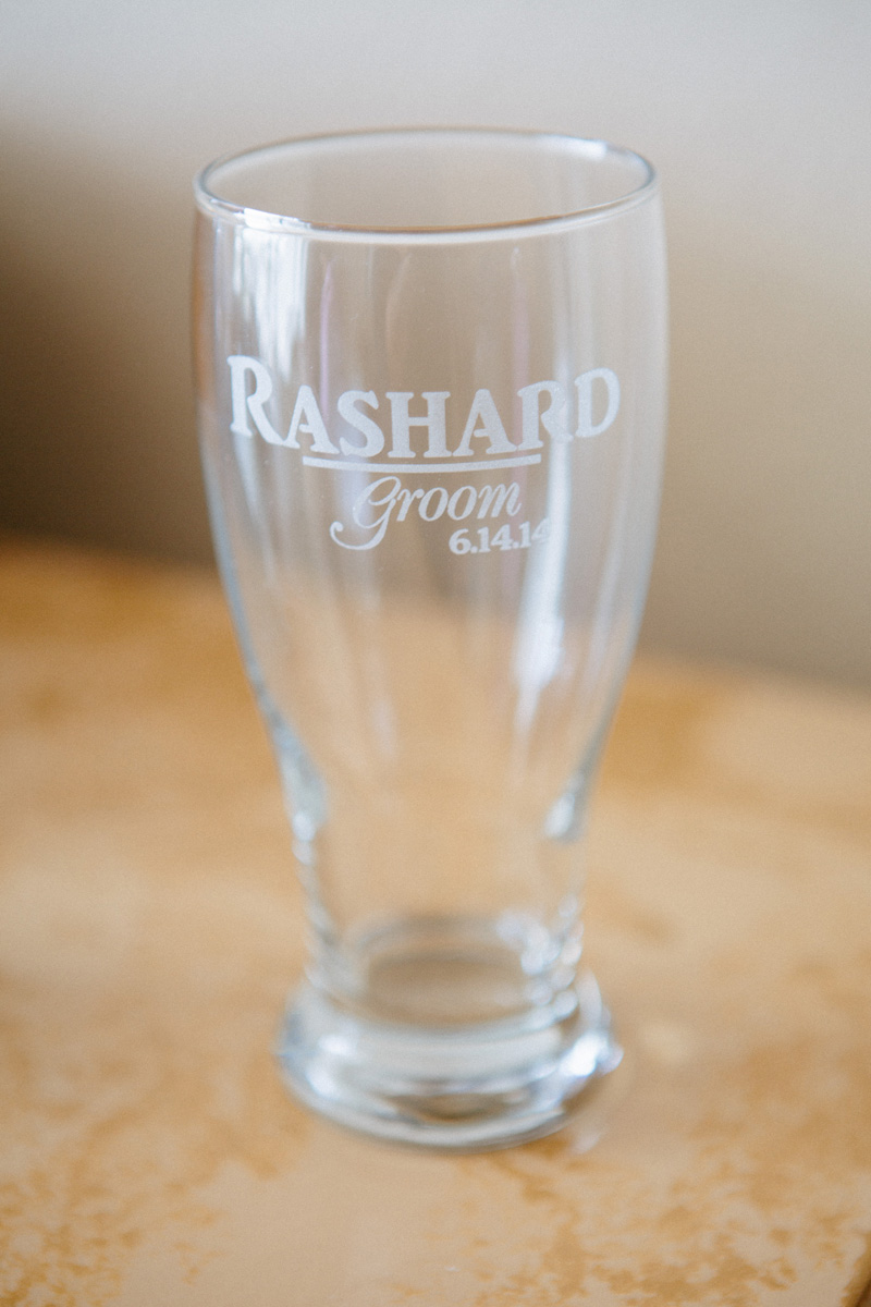Elegant Personalized Groom Pint Glass | The Majestic Vision Wedding Planning | Sailfish Marina in Palm Beach, FL | www.themajesticvision.com | Robert Madrid Photography