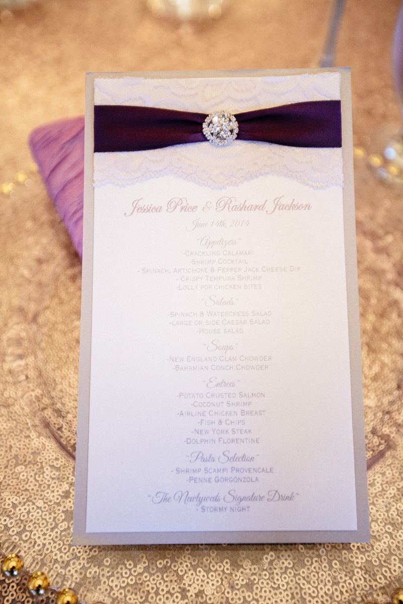 Elegant Purple and Lace Wedding Menu | The Majestic Vision Wedding Planning | Sailfish Marina in Palm Beach, FL | www.themajesticvision.com | Robert Madrid Photography