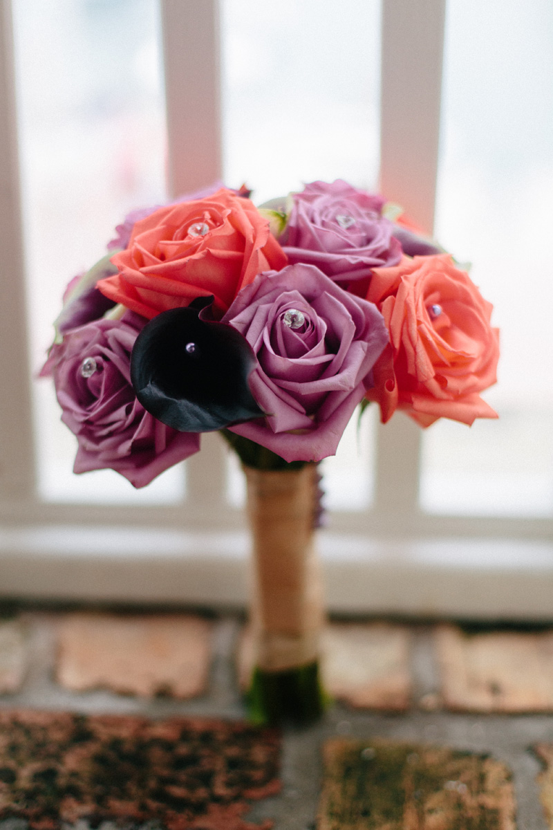 Elegant Bridesmaid Bouquet with Purple Roeses and Coral Roses | The Majestic Vision Wedding Planning | Sailfish Marina in Palm Beach, FL | www.themajesticvision.com | Robert Madrid Photography