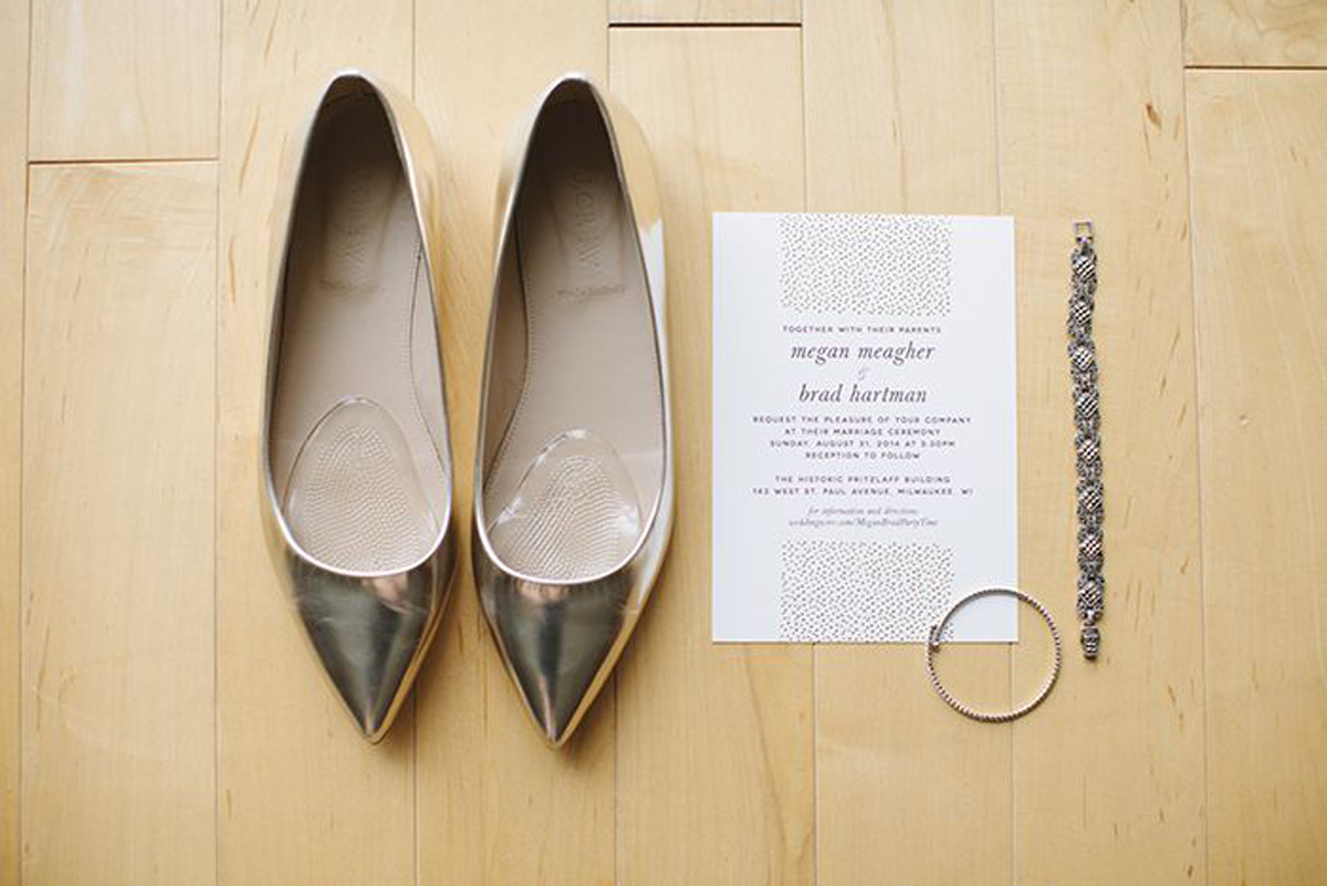Elegant Gold Flat Wedding Shoes | The Majestic Vision Wedding Planning | Pritzlaff Building in Milwaukee, WI | www.themajesticvision.com | Lisa Mathewson Photography