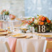 Elegant Centerpiece with Blush Dahlias, Coral Roses and Snapdragons at Pritzlaff Building in Milwaukee, WI thumbnail