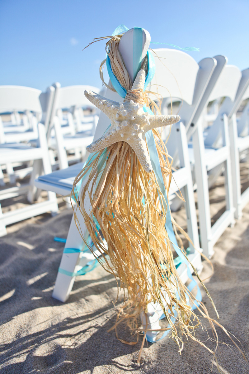 Elegant Starfish Aisle Markers for Beach Ceremony | The Majestic Vision Wedding Planning | Palm Beach Shores in Palm Beach, FL | www.themajesticvision.com | Krystal Zaskey Photography