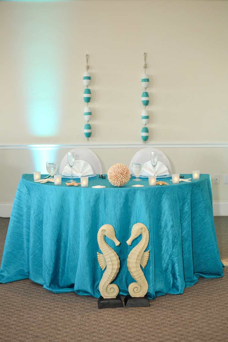 Elegant Sweetheart Table with Seahorses and Bouys | The Majestic Vision Wedding Planning | Palm Beach Shores in Palm Beach, FL | www.themajesticvision.com | Krystal Zaskey Photography